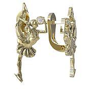 Украшения handmade. Livemaster - original item Gold Figure Skater earrings with diamonds. Handmade.