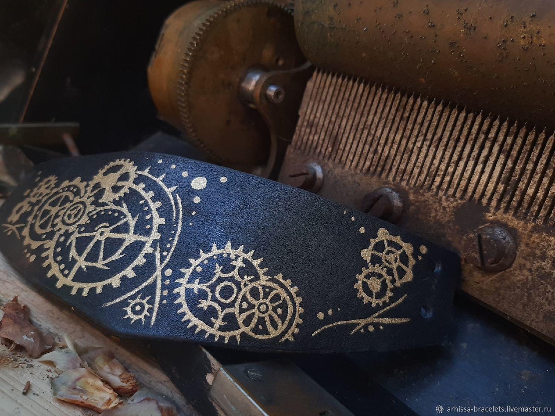"""Кожаный браслет """"Шестерни"""", Браслет-манжета, Москва,  Фото №1"""