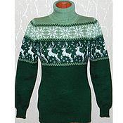 Одежда handmade. Livemaster - original item A reindeer sweater and knitted Norwegian ornament (green). Handmade.