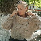 Одежда ручной работы. Ярмарка Мастеров - ручная работа жакет вязаный укороченный бежевый. Handmade.