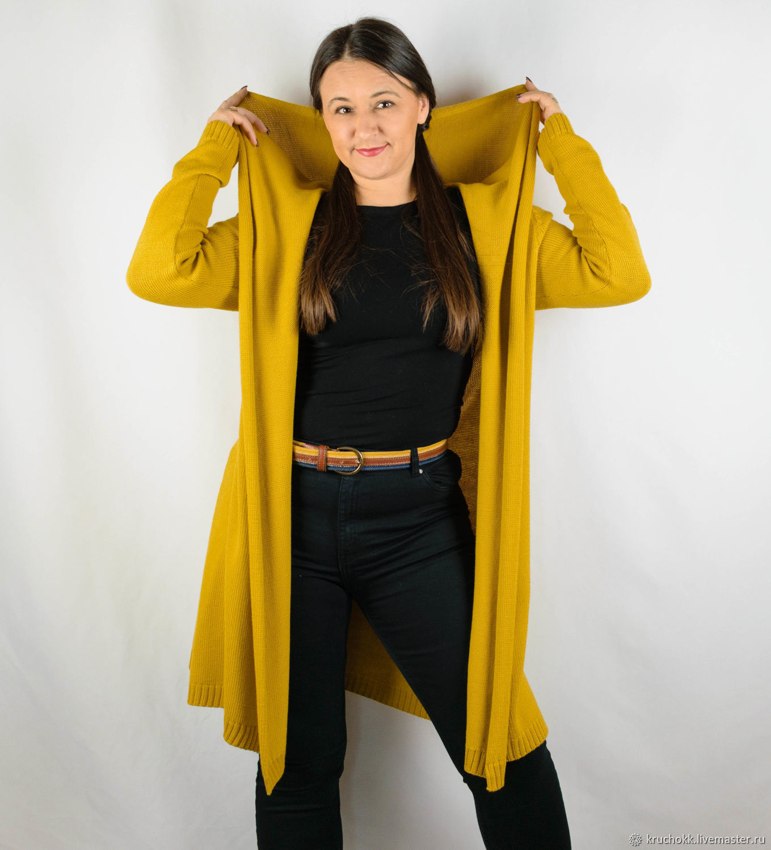 Women's hooded cardigan yellow-mustard, Cardigans, Kiev,  Фото №1