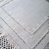 Для дома и интерьера handmade. Livemaster - original item Doily hand embroidery unbleached grey linen hemstitch. Handmade.