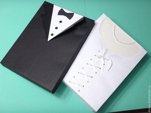 Подарочная упаковка ручной работы. Ярмарка Мастеров - ручная работа. Купить Свадебная двухсторонняя коробка. Handmade. Чёрно-белый, полубусины