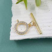 Материалы для творчества handmade. Livemaster - original item Toggle lock with zircons, ring 14.5x14.5x3. 4485.  mm gilt (). Handmade.