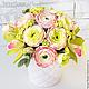 Интерьерные композиции ручной работы. Ярмарка Мастеров - ручная работа. Купить Ранункулюсы (лютики) в вазе. Handmade. Цветы, букет