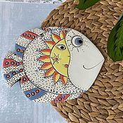 Картины и панно handmade. Livemaster - original item Ceramic hand panel: Fish-The Sun. Handmade.