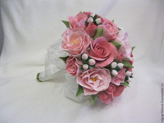 """Свадебные цветы ручной работы. Ярмарка Мастеров - ручная работа. Купить Свадебный комплект """"Розовое настроение"""" (букет + бокалы ). Handmade."""