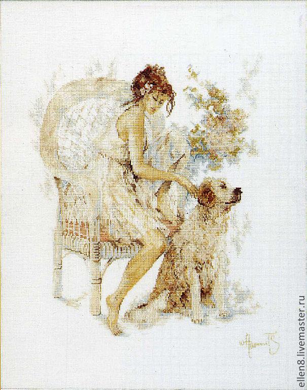 Люди, ручной работы. Ярмарка Мастеров - ручная работа. Купить вышитая картина Девушка с собакой. Handmade. Вышивка крестом
