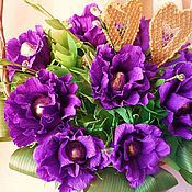Подарки к праздникам ручной работы. Ярмарка Мастеров - ручная работа Виолетта. Букет из конфет в корзине.. Handmade.