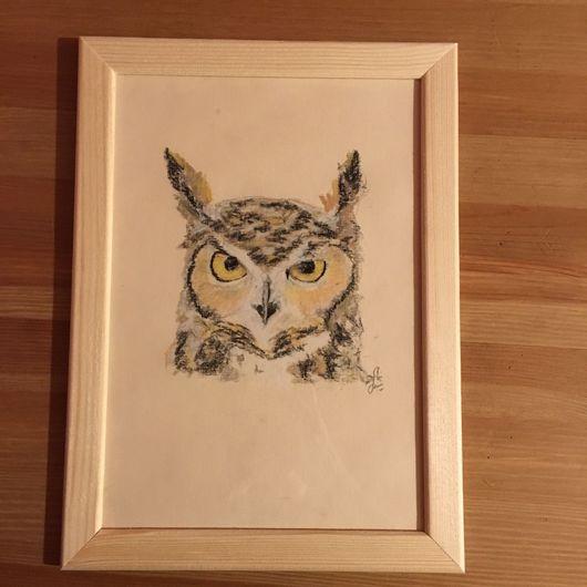 """Животные ручной работы. Ярмарка Мастеров - ручная работа. Купить Картина """"Филин"""". Handmade. Рисунок, картина для интерьера, картина, пастель"""