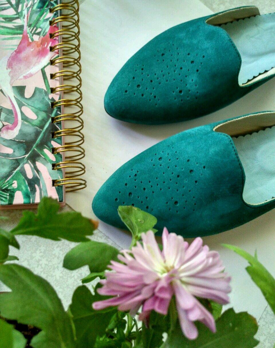 """Обувь ручной работы. Ярмарка Мастеров - ручная работа. Купить Мюли """"Изумрудные"""". Handmade. Босоножки, морская волна, замшевые туфли"""