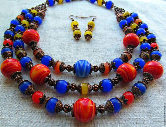 Колье, бусы ручной работы. Ярмарка Мастеров - ручная работа. Купить ожерелье Весеннее. Handmade. Комбинированный, кошачий глаз