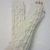 Аксессуары ручной работы. Ярмарка Мастеров - ручная работа Митенки белые  157. Handmade.