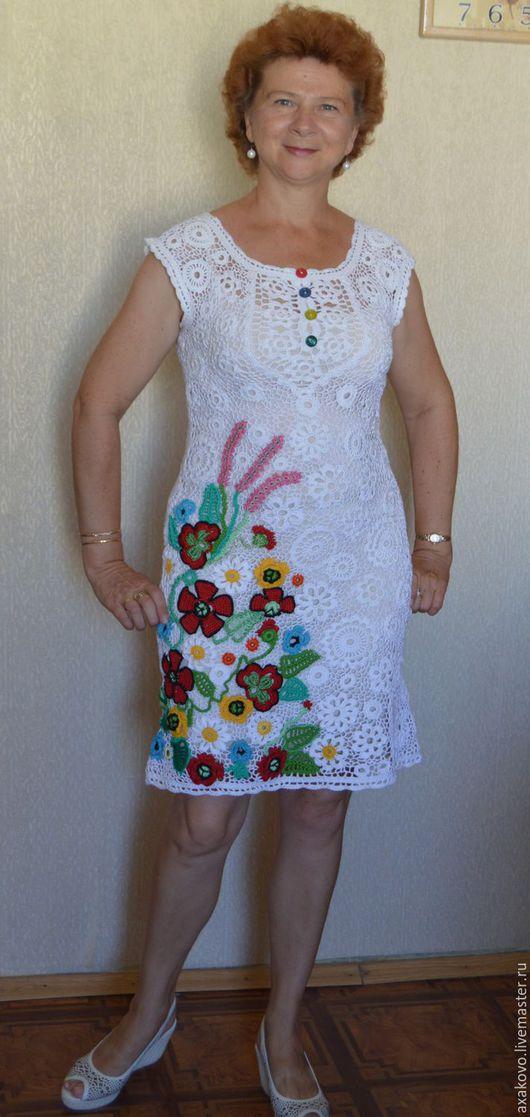 Платья ручной работы. Ярмарка Мастеров - ручная работа. Купить платье крючком Маковый цвет. Handmade. Белый, ирландское кружево