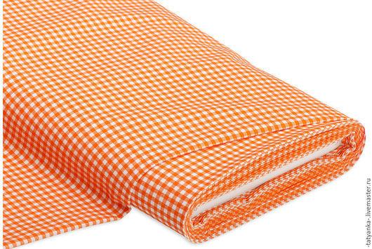 Ткань немецкий хлопок `Клетка` 3х3 мм (апельсин)