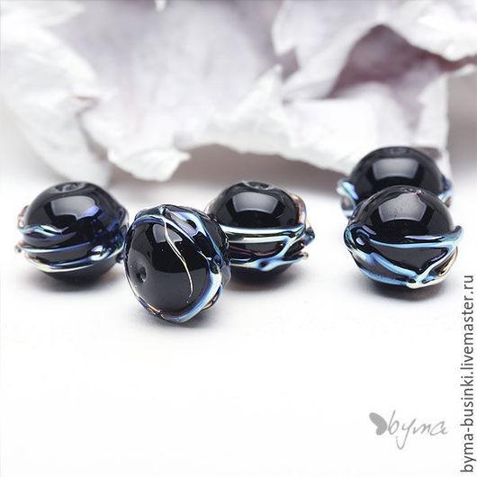 бусины круглые черные стеклянные купить