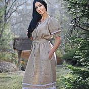 """Платье летнее льняное с кружевом """"Рассвет"""""""