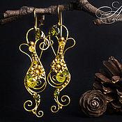 """Украшения ручной работы. Ярмарка Мастеров - ручная работа Серьги """"Травяной чай"""" (цирконы) wire wrap. Handmade."""
