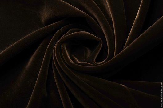 Бархат хлопковый коричневый.  Производство Италия. Ширина ткани - 130 см. Состав ткани - 95% CO, 5%EA Стоимость 23 $ за погонный метр.
