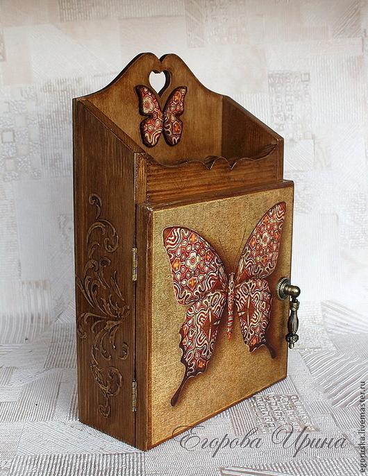 Прихожая ручной работы. Ярмарка Мастеров - ручная работа. Купить Ключница Butterfly. Handmade. Коричневый, вешалка-ключница, декор для интерьера