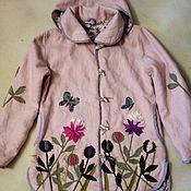 """Одежда ручной работы. Ярмарка Мастеров - ручная работа Куртка изо льна"""" Пионы """". Handmade."""