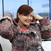"""Одежда ручной работы. Ярмарка Мастеров - ручная работа Пальто """"Инна"""" Красный серый шерсть валяное войлок. Handmade."""