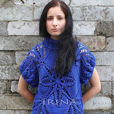 """Одежда ручной работы. Ярмарка Мастеров - ручная работа Свитер """"Морозный узор"""" синий. Handmade."""