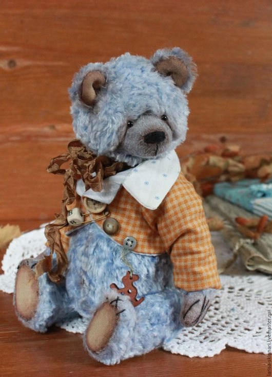 Мишки Тедди ручной работы. Ярмарка Мастеров - ручная работа. Купить Василек. Handmade. Голубой, игрушка ручной работы, холофайбер