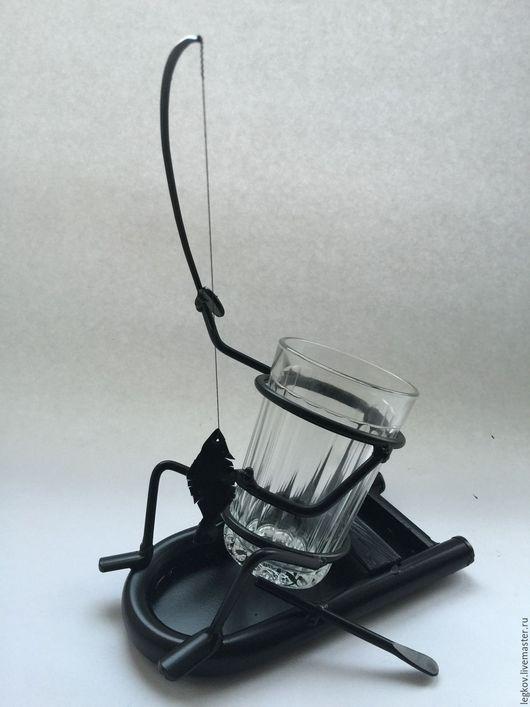 """Бокалы, стаканы ручной работы. Ярмарка Мастеров - ручная работа. Купить Подстаканник """"Рыбак на лодке"""". Handmade. Черный, подстаканник, рыбак"""