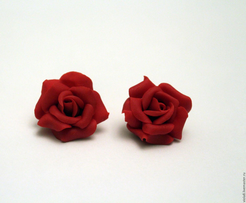 204106df3e0b ... Клипсы красные розы,украшение с цветами,серьги розы красные,украшение в  уши, ...