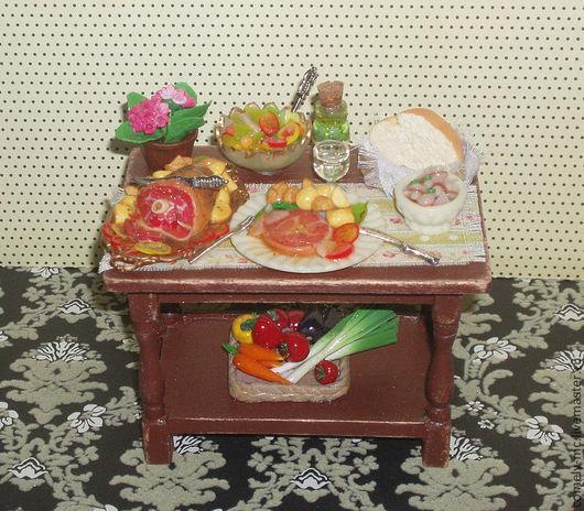 """Миниатюра ручной работы. Ярмарка Мастеров - ручная работа. Купить Миниатюра """"Обеденный столик"""". Handmade. Миниатюра, кукольная миниатюра"""