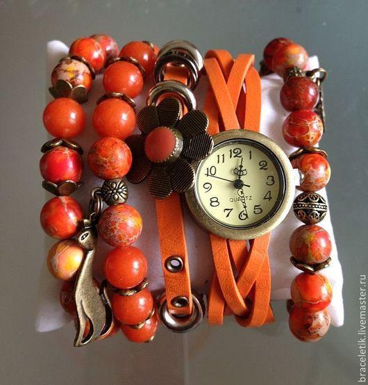 Браслеты ручной работы. Ярмарка Мастеров - ручная работа. Купить Сет браслетов с часами ОРАНЖЕВЫЙ. Handmade. Оранжевый, часы наручные