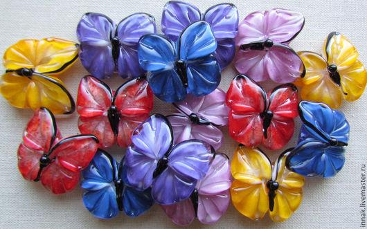 Для украшений ручной работы. Ярмарка Мастеров - ручная работа. Купить Бабочки авторские стеклянные бусины лэмпворк  lampwork. Handmade.