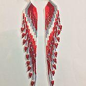 Украшения ручной работы. Ярмарка Мастеров - ручная работа Серьги из бисера длинные красные. Handmade.