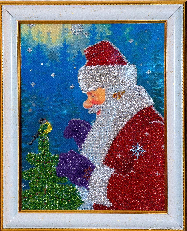 Santa Claus with a bird, beading, Pictures, Kazan,  Фото №1