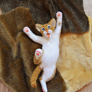Куклы и игрушки ручной работы. Ярмарка Мастеров - ручная работа Рыжий войлочный котёнок.(Валяная игрушка).. Handmade.