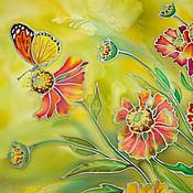 """Картины и панно ручной работы. Ярмарка Мастеров - ручная работа """"Поцелуй лета"""" диптих батик- панно. Handmade."""