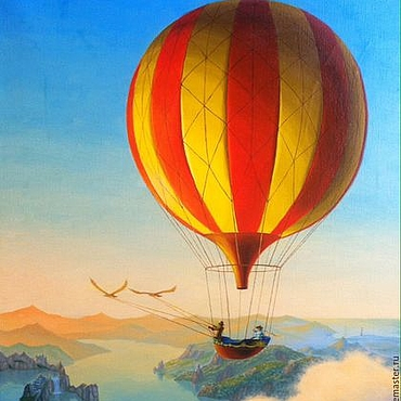 """Картины и панно ручной работы. Ярмарка Мастеров - ручная работа """"Полет на воздушном шаре"""" авторский принт.. Handmade."""