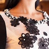Платья ручной работы. Ярмарка Мастеров - ручная работа Вышивка жемчугом.Платье из шерсти Черная жемчужина. Handmade.