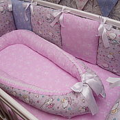 Бортики в кроватку ручной работы. Ярмарка Мастеров - ручная работа Кокон-гнёздышко для малыша. Handmade.