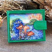 Кошельки ручной работы. Ярмарка Мастеров - ручная работа Кошелек женский кожаный с рисунком кошелёк на кнопке кожа. Handmade.