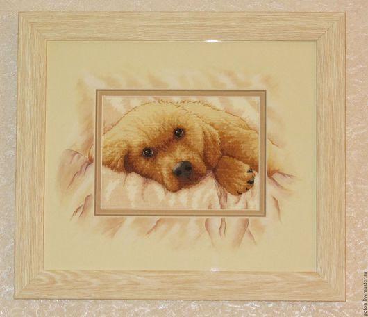 Животные ручной работы. Ярмарка Мастеров - ручная работа. Купить Вышитая картина Золотой щенок. Handmade. Желтый, вышивка, картина