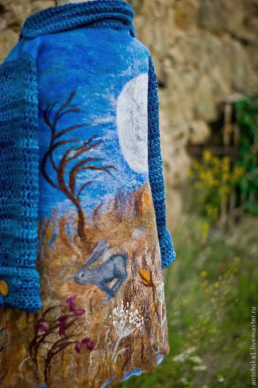 """Одежда для девочек, ручной работы. Ярмарка Мастеров - ручная работа. Купить Пальто """" Лунный свет и зайцы"""". Handmade. Сказка"""