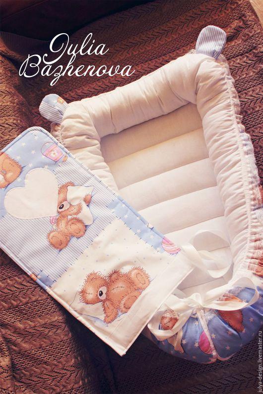 Для новорожденных, ручной работы. Ярмарка Мастеров - ручная работа. Купить Гнездышко для малыша, гнездо для младенца. Handmade. Голубой, гнездо