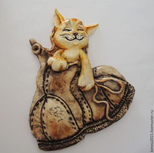 """Животные ручной работы. Ярмарка Мастеров - ручная работа. Купить Панно""""Счастливый котик"""". Handmade. Бежевый, подарок, кот в подарок"""