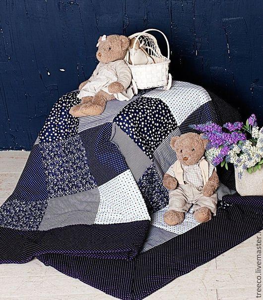 """Пледы и одеяла ручной работы. Ярмарка Мастеров - ручная работа. Купить Лоскутное одеяло """"Ночка"""". Handmade. Тёмно-синий"""
