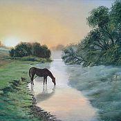 Картины ручной работы. Ярмарка Мастеров - ручная работа Картина. Летний пейзаж с лошадью маслом. На рассвете.. Handmade.