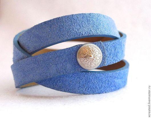 Браслеты ручной работы. Ярмарка Мастеров - ручная работа. Купить браслет из кожи, небесно-голубого цвета. Handmade. Браслет, кожа