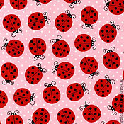 """Ткани ручной работы. Ярмарка Мастеров - ручная работа №118 американский хлопок """"божьи коровки на розовом"""". Handmade."""