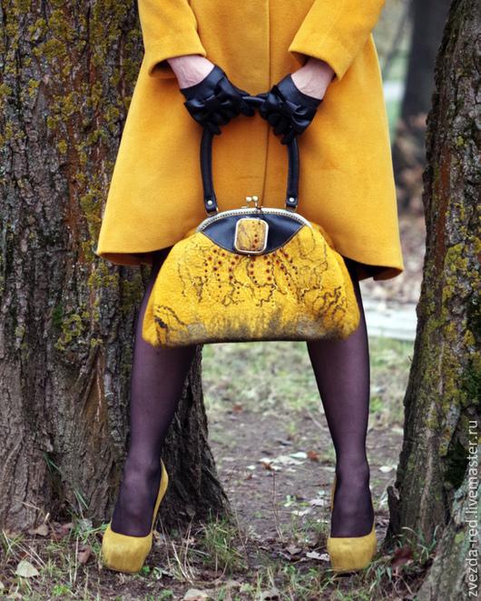 """Женские сумки ручной работы. Ярмарка Мастеров - ручная работа. Купить сумка - саквояж """"Листопад"""". Handmade. Желтый, желтый цвет"""